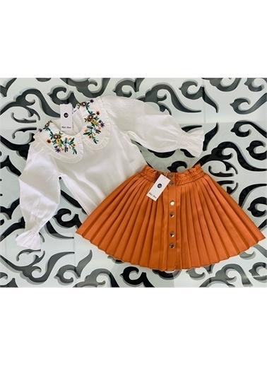 Hilal Akıncı Kids Kiz Çocuk Nakiş Yaka Detayli Bluz Renklı Pılıselı Etek Ikılı Takim Oranj